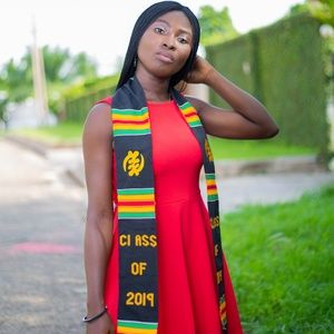 Black African Graduation Kente Stoles: Gye Nyame